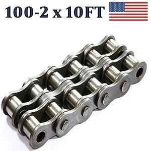 100 2 Double Strand Roller Chain 10ft With Connecting Link Same Day Shipping