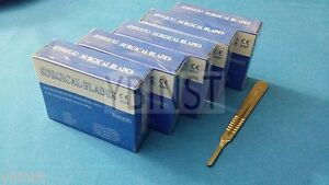 500 Sterile Surgical Carbon Steel Blades 22 With Free Scalpel Knife Handle 4