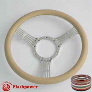 15 5 Billet Steering Wheels Tan Half Wrap Street Rod Corvair Impala Chevy Ii