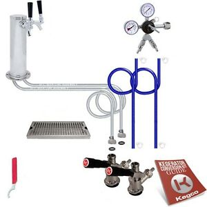 Kegco Kegerator Two Keg Tap Draft Beer Dispense Tower Conversion Kit Drip Tray