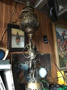 Antique Newell Post Lamp Figural Lady