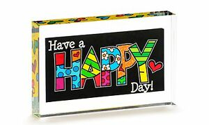 Romero Britto Double sided Glass Table Block Happy Day Gift Boxed New