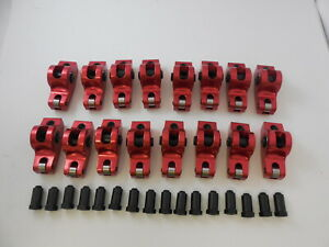 Roller Rocker Arms Aluminum 1 60 Ratio 7 16 Stud Small Block Chevy 265 400 Red