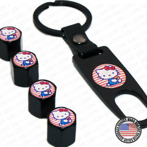 Black Car Wheel Tyre Tire Valves Dust Stems Air Caps Keychain Hello Kitty Emblem