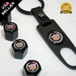 Black Car Wheel Tyre Tire Valves Dust Stems Air Caps Keychain Cadillac Emblem