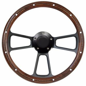 Ford Mustang 14 Mahogany And Black Pbk Billet Steering Wheel With Horn