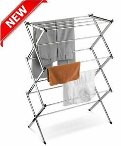 Clothes Rack Drying Laundry Stand Portable Folding Storage Stainless Steel Home