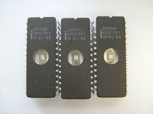 Intel D2764a 2764 Ic 28pin Eprom Integrated Circuit Lot Of 3 Pcs Tested Erased