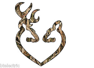 Camo Deer Heart Buck Hunting Browning Realtree Truck Car Window Vinyl Decal 5 H