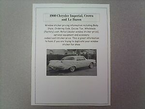 1960 Chrysler Imperial Factory Cost Dealer Sticker Prices For Car