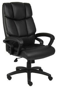 Boss Office Ntr Executive Top Grain Leather Chair W Knee Tilt B8702 New