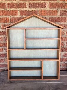 Vintage House Shaped Shadow Box Primitive Display Curio Shelf Walnut 28 5 X 23