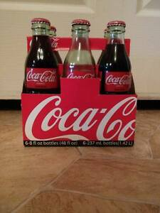 Coca-Cola - 6 pack 8 Ounce Vintage Green Glass Bottles -  1997