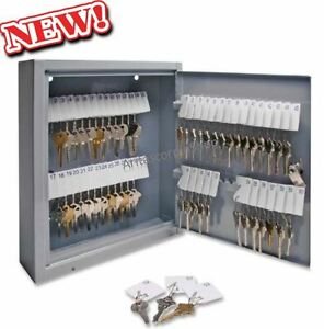 60 Key Hook Cabinet Storage Rack Wall Mount Lock Box Key Tags Security Company