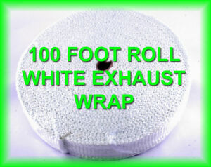 White Racing Header Wrap Exhaust Pipe Insulation Heat Tape 1 8 x 2 Inch 100 Feet