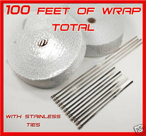 White Heat Pipe Exhaust Header Wrap Stainless Steel Ties 2 Rolls 1 8 x2 x 50 Ft