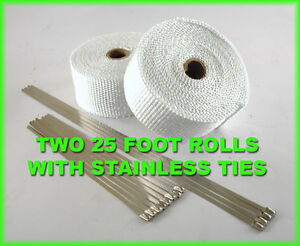 White Motorcycle Pipe Header Exhaust Wrap Kit Stainless Ties 2 Rolls 2 x 25 Feet