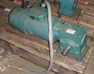 Reliance Electric 3 4 Hp Motor 1725 Hp P56h7213p W Gear Reducer And Disc Brake