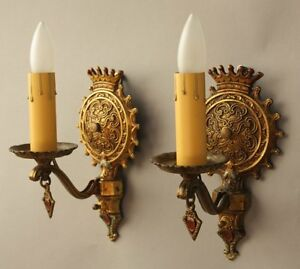 Pair 1920s Ornate Sconces Light Fits English Tudor Spanish Revival Gothic 8234