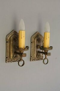 Pair 1920s Brass Sconce Light Fits Storybook Gothic Tudor Spanish Revival 8204