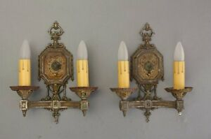 1920s Double Light Sconces Pair Fits Tudor Spanish Revival French Tuscan 8202