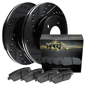 Fits Volkswagen Quantum Front Black Drill Slot Brake Rotors ceramic Brake Pads
