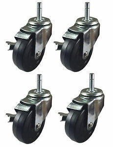 4 X 1 1 4 Hard Rubber On Grip Ring Stem Caster 4 Swivel With Brake