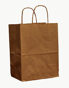 100 Natural brown Paper Retail Handled Shopping Bags 8 x5 x10 Gift Bags