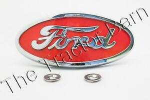 Licensed Ford 8n Red Chrome Front Hood Emblem Ornament 8n16600a 8n16600b Grill
