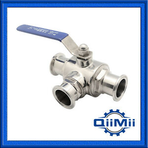 2 Sanitary Stainless 304 Three Way Ball Valve Tri Clamp Connection T Type