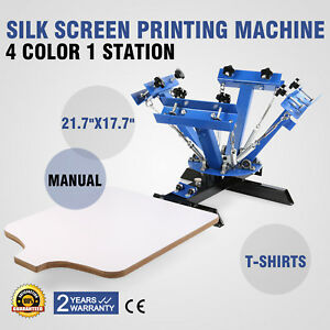 4 Color 1 Station Silk Screen Printing Machine Press Equipment T shirt