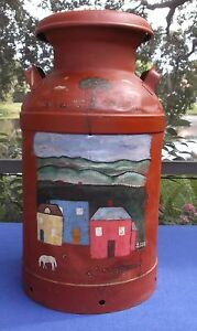 Antique Vintage Buhl Primitive Hand Painted Farm Yard Scene 10 Gl Dairy Milk Can