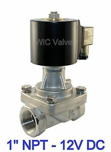 1 Inch Stainless Electric Solenoid Steam Valve Normally Closed 12v Dc Ptfe Seal