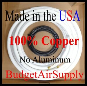 1 4 X 5 8 X 25ft 1 2 Insulated 100 Copper Ductless Mini Split Line Set wire