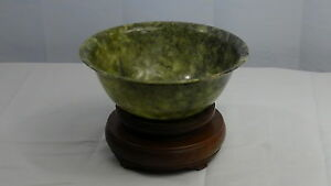 Antique Chinese Large Beautiful Spinach Jade 7 Diam Bowl On Carved Stand