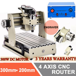 3020 4 Axis Cnc Router Engraver Mill Drill Machine 3d Cutter 300w Dc Motor Us