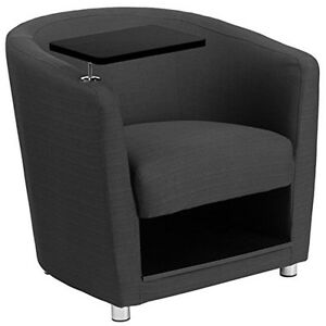 Charcoal Gray Fabric Guest Chair W tablet Arm Chrome Legs N Under Seat Storage
