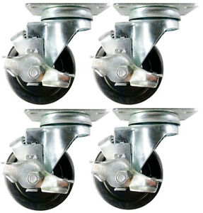 3 1 2 X 1 1 4 Hard Rubber Wheel Casters a1 4 Swivels With Brake