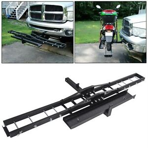 Steel Motorcycle Scooter Dirtbike Carrier Hauler Anti Tilt Hitch Mount Rack Ramp