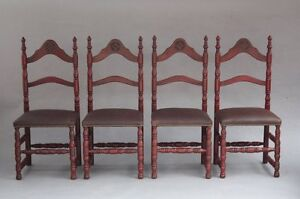 Set Of 4 1920s Spanish Revival Adobe Style Chairs New Leather Seats 7868