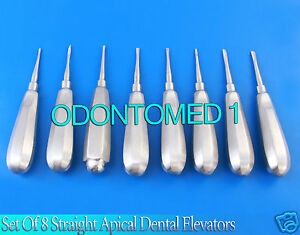Set Of 8 Straight Apical Dental Surgery Extracting Extraction Root Tip Elevators