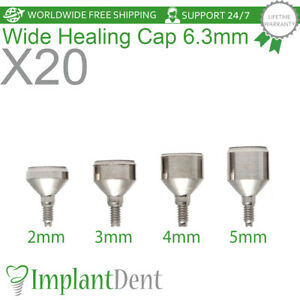 20 Healing Cap Wide 6 3mm For Dental Implant Internal Hex Prosthetic Lab