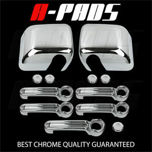 For Jeep Wrangler 08 14 Chrome Mirror Cover Door Handle Tailgate Cover