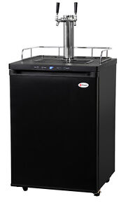 Kegco Digital Homebrew Kegerator Dual Faucet Ball Lock Keg Dispenser Black