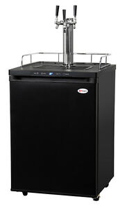 Kegco Digital Homebrew Kegerator Triple Faucet Ball Lock Keg Dispenser Black