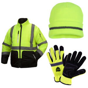 Premium Ansi Class 3 Hi viz Winter Work Wear Set 3 in 1 Jacket Beanie Gloves