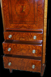 Mahogany Burl Ash Directoire Style Circa 1910 Drop Down Desk Chest Bureau