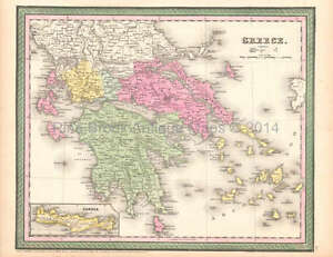 Greece Crete Antique Map Desilver 1854 Original