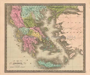 Greece Antique Map Greenleaf 1844 Original