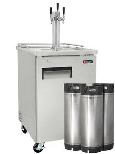 Kegco Commercial Grade Homebrew Kegerator Triple Tap Keg Dispenser Stainless